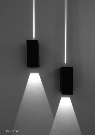 applique exterieur murale clairage haut et bas pour fa ade lillehammer led gris clair par. Black Bedroom Furniture Sets. Home Design Ideas