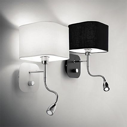 applique t te de lit avec liseuse pour chambre coucher holiday noire 75 clairage. Black Bedroom Furniture Sets. Home Design Ideas