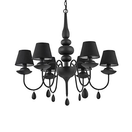 lustre noir avec abat jours noirs pour clairer une chambre coucher blanche sp6 noire par. Black Bedroom Furniture Sets. Home Design Ideas