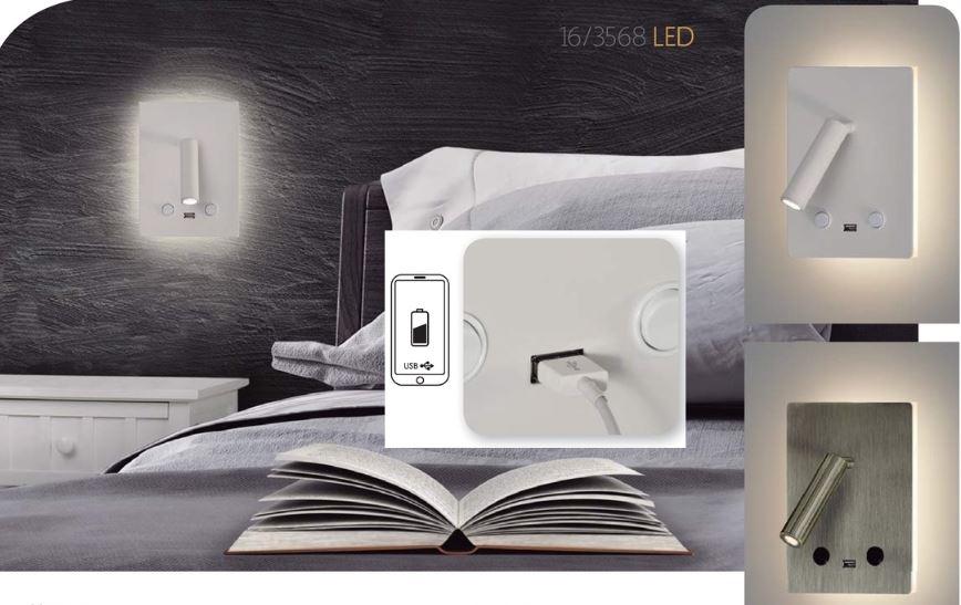 Applique liseuse à led blanche double éclairage pour tête de lit