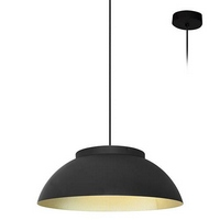 Suspension industrielle noire et dorée à led pour éclairage de cuisine