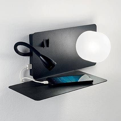 applique liseuse t te de lit et port usb pour clairer une chambre coucher book noire par. Black Bedroom Furniture Sets. Home Design Ideas