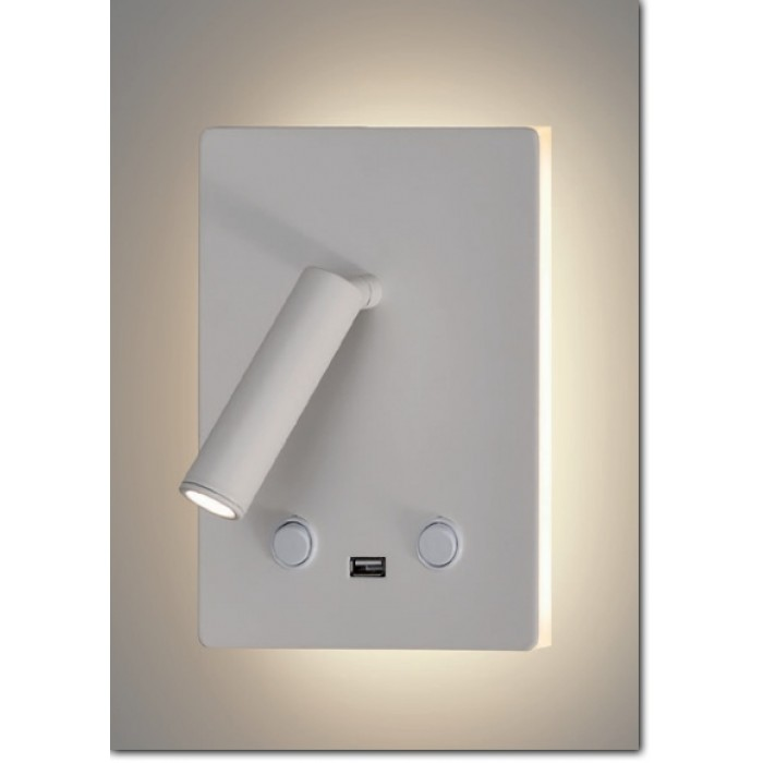 applique liseuse led blanche double clairage pour t te de lit avec une prise usb int gr e. Black Bedroom Furniture Sets. Home Design Ideas
