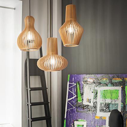 suspension ajour e en bois naturel pour clairer au dessus. Black Bedroom Furniture Sets. Home Design Ideas