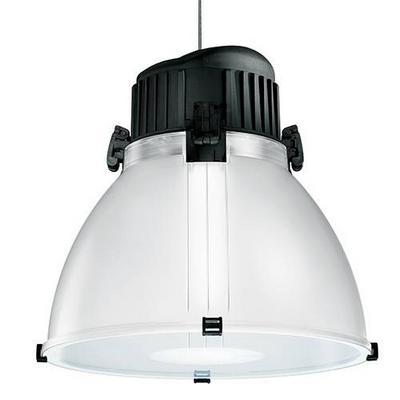 Suspension industrielle pour éclairage de magasin Zep par Indigo lighting métal noir et diffuseur translucide