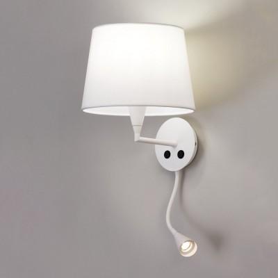 Applique avec liseuse à led et son abat jour blanc pour éclairer une tête de lit dans une chambre LISA Blanche par ACB ILUMINACION