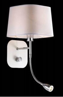 Applique pour éclairer une tête de lit avec liseuse à led pour chambre à coucher Holiday Chrome et Blanche