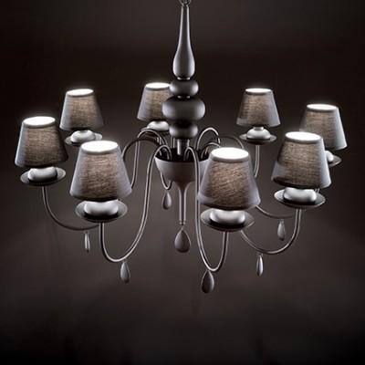 lustre noir avec abat jours pour chambre coucher blanche sp6 noir par ideallux 299. Black Bedroom Furniture Sets. Home Design Ideas