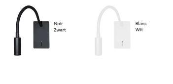 Applique liseuse à led noire pour éclairage de tête de lit avec une prise USB intégrée Betsy2 Noire 79€