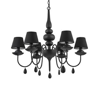 Lustre noir avec abat-jours noirs pour éclairer une chambre à coucher BLANCHE sp6 Noire par Ideal Lux