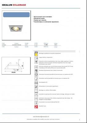 spot carré inox brossé pour encastrer dans les plafonds des cuisines 6.50€ ttc