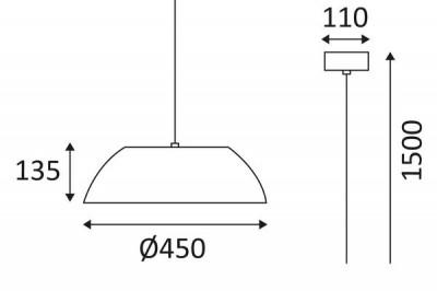 Dimensions de la suspension Aura de chez Indigo Lighting