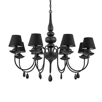 Lustre noir avec abats jour noirs 8 branches pour éclairer un dessus de table de salle à manger ou cuisine ou salon de la marque Ideallux Blanche Nero