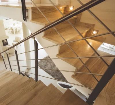 Spot encastré mural rond à led pour éclairer une montée d'escalier ou baliser une pièce KO703R Alu par Indigo Lighting