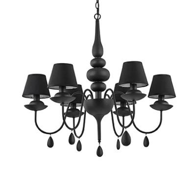 Lustre noir avec abats jour noirs pour éclairer un dessus de table de salle à manger ou cuisine ou salon de la marque Ideallux Blanche Nero 369€