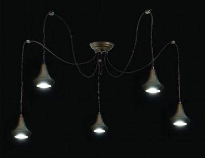 Suspension multiple pour éclairage de cuisine en laiton vieilli de chez Moretti Luce