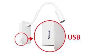 Applique liseuse à led noire pour éclairage de tête de lit avec une prise USB intégrée