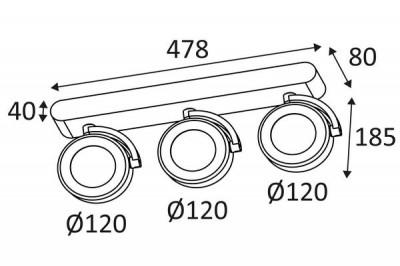 Dimensions de la réglette de trois spots Eole de chez Indigo Lighting