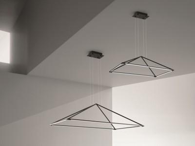 Suspension géométrique rectangulaire à led pour éclairer au dessus d'une table d'une salle à manger TUBS by Grok