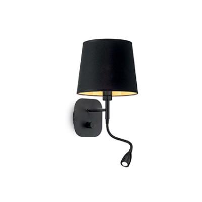 Applique noire et dorée tête de lit avec liseuse à led pour éclairer une chambre à coucher Nordique AP2 par Ideallux