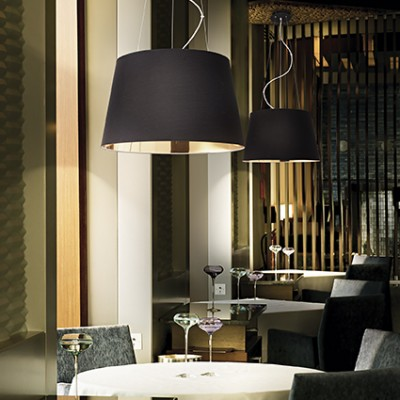 Suspension noire et dorée diamètre 50cm pour éclairer au dessus d'une table de salle à manger ou salon Nordique SP4 par Ideallux